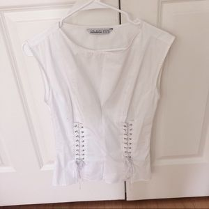 Zara white blouse with Laces